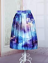 Fashion Women's Blue Fantasy Scenery Printing Slim Elastic Waist Knee-length Luxury Skirts