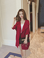 Women's Solid Blue / Pink / Red / Yellow Trench Coat , Casual ¾ Sleeve Polyester