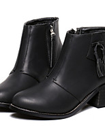 Women's Shoes  Chunky Heel Round Toe Boots Casual Black / Beige