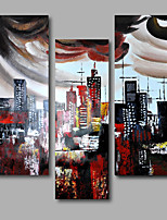 Hand-Painted Oil Painting on Canvas Wall Art Contempory Building City Abstract Three Panel Ready to Hang