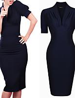 Vestidos ( Algodón Compuesto / Tela de Encaje )- Cosecha / Sexy / Bodycon / Casual / Impresión / Tela de Encaje / Fiesta Escote en VManga