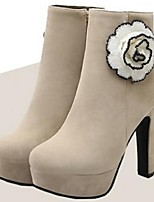 Women's Shoes Fleece Chunky Heel Fashion Boots Boots Office & Career / Party & Evening / Dress Black / Beige