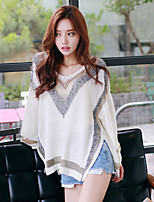 Women's Color Block Blue / Beige Pullover , Casual Long Sleeve