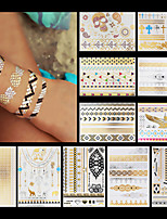 11PCS Necklace Skull Angel Elephant Cross Waterproof Women Gold Temporary Tattoo Stickers Braclet Chain