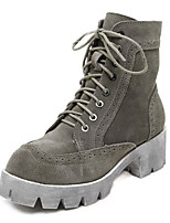 Women's Shoes Suede Chunky Heel Round Toe Boots Casual Black / Gray