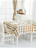 Light Brown Plaid Lacy Design  Jacquard  Tablecloths Fabric Tea Tablecloth