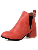 Zapatos de mujer - Tacón Robusto - Botas a la Moda - Botas - Vestido / Casual / Fiesta y Noche - Semicuero - Negro / Rojo