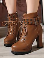 Zapatos de mujer - Tacón Robusto - Tacones / Comfort / Botines / Punta Redonda / Punta Cerrada - Botas - Casual - Semicuero -Negro /