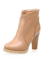 Women's Shoes Leatherette Chunky Heel Combat Boots / Round Toe Boots Outdoor / Casual Black / White / Beige / Mahogany