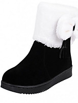 Women's Shoes Suede Wedge Heel Round Toe Boots Casual Black / Brown / Red