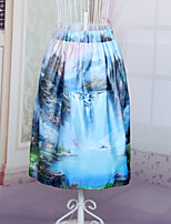 Fashion Women's Chinese style Landscape paintings Printing Slim Elastic Waist Knee-length Luxury Skirts