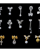 5PCS Arrive Bow Tie Charm Alloy 3d Rhinestone Pearls Pendant Nail Art Slice Decorations Stylish Nail Beauty Tools
