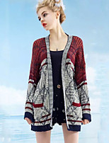 Women's Patchwork Red Cardigan , Vintage / Casual Long Sleeve