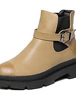 Chaussures Femme - Extérieure / Décontracté - Noir / Jaune - Talon Plat - Rangers - Bottes - Similicuir