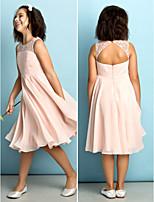 Knee-length Chiffon Junior Bridesmaid Dress - Pearl Pink A-line Scoop