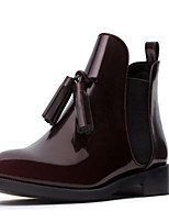 Women's Shoes Chunky Heel Round Toe Boots Casual Burgundy