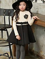Girl's Black / Beige Dress , Floral Cotton Winter / Fall