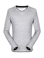 Men's Long Sleeve T-Shirt , Cotton / Elastic Casual / Work / Formal / Sport Pure V-neck T-shirt and upset Pure cotton
