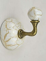 Ceramic Robe Hook, Antique Brass Finish Wall-mounted,Bathroom Accessory