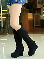 Damenschuhe - Stiefel - Kleid / Lässig - Kunstleder - Keilabsatz - Komfort - Schwarz / Braun