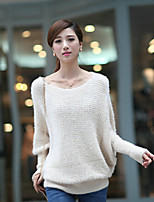 Women's Jacquard White / Black Pullover , Casual Long Sleeve