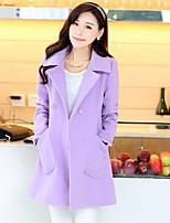 Women's Solid Blue / Pink / Yellow / Purple Coat , Casual Long Sleeve Tweed