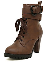 Women's Shoes  Chunky Heel Heels / Bootie / Comfort / Round Toe / Closed Toe Boots Casual Black / Brown