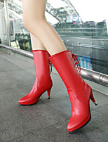 Women's Shoes Leatherette Stiletto Heel Heels / Office & Career / Casual Black / Brown / Green / Red