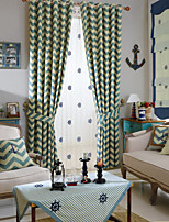 (Two Panel)Mediterranean Geometric Printed Linen Cotton Blend Energy Saving Curtain (Sheer Not Included)