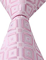 Geometric Patterns Pink White Jacquard Silk Men Necktie Tie