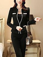 Women's Solid Black Blazer , Work / Plus Sizes Deep U Long Sleeve