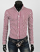 Men's Long Sleeve Shirt , Nylon Casual Striped