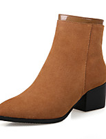 Women's Shoes Suede Chunky Heel Bootie / Pointed Toe / Closed Toe Boots Dress / Casual Black / Brown