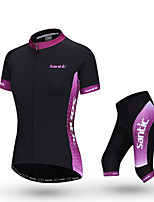 SANTIC Women's Short Sleeve Polyester+Spandex Breathable Cycling Suit - Purple