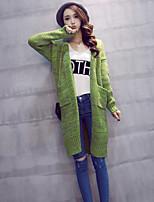 Women's Solid Green / Beige / Gray Cardigan , Casual Long Sleeve