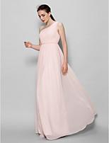 Brautjungfernkleid - Perlen Pink Chiffon - A-Linie - bodenlang - 1-Schulter