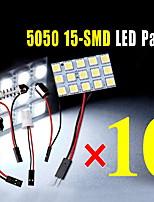 10X White 5050 15SMD Panel Map Dome Interior Light+1156 Festoon T10 BA9S Adapter