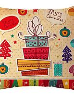 Cotton Linen Christmas Cartoon Printed Pillow Case Cushion Cover Santa Claus Snowman Reindeer Decorative