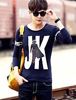 Men's Long Sleeve round neck T-Shirt , Cotton Casual Print