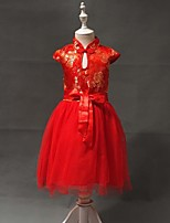 Girl's Red Dress , Lace Cotton Blend All Seasons