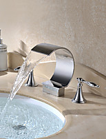 Chrome Finish Deck Mounted 3 Pieces Waterfall Basin Water Tap