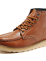 Women's Shoes Leather Flat Heel Motorcycle Boots / Combat Boots Boots Outdoor / Athletic / Casual Brown