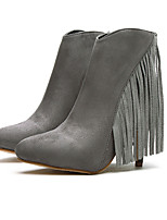 Women's Shoes Suede Stiletto Heel Pointed Toe Boots Casual Black / Gray