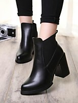 Women's Shoes Fashion Chunky Heel Pointed Toe Boots Casual Black / Red