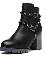Chaussures Femme - Extérieure / Habillé / Décontracté - Noir / Gris - Gros Talon - Bout Arrondi / Bottes à la Mode - Bottes - Similicuir