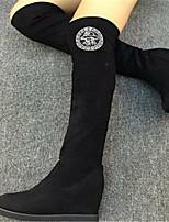 Scarpe Donna - Stivali - Casual - Punta arrotondata - Basso - Raso elasticizzato - Nero