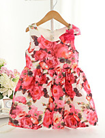Girl's Fashion Simplicity  Cotton Blend   Fall/Spring   Big Flower  Printing Jumper Skirt Princess Dress