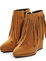 Women's Shoes Leather Wedge Heel Fashion Boots / Pointed Toe Boots Dress / Casual Black / Brown
