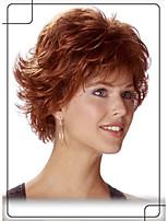 elegante estilo 1inch top monofilamento pelo humano remy virginal esponjoso corto ondulado pelucas sin tapa