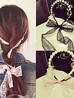 South Korea's Aristocratic Wind Pearl Lace Bowknot Ribbon Bind Hair Band